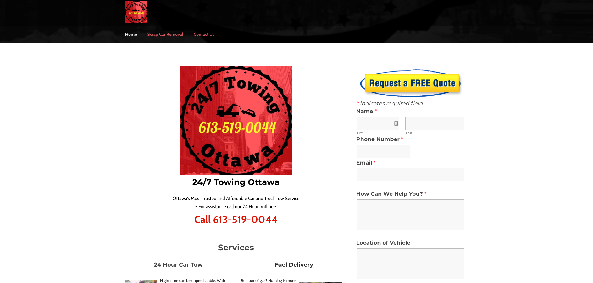 24/7 Towing Ottawa Website in Ottawa