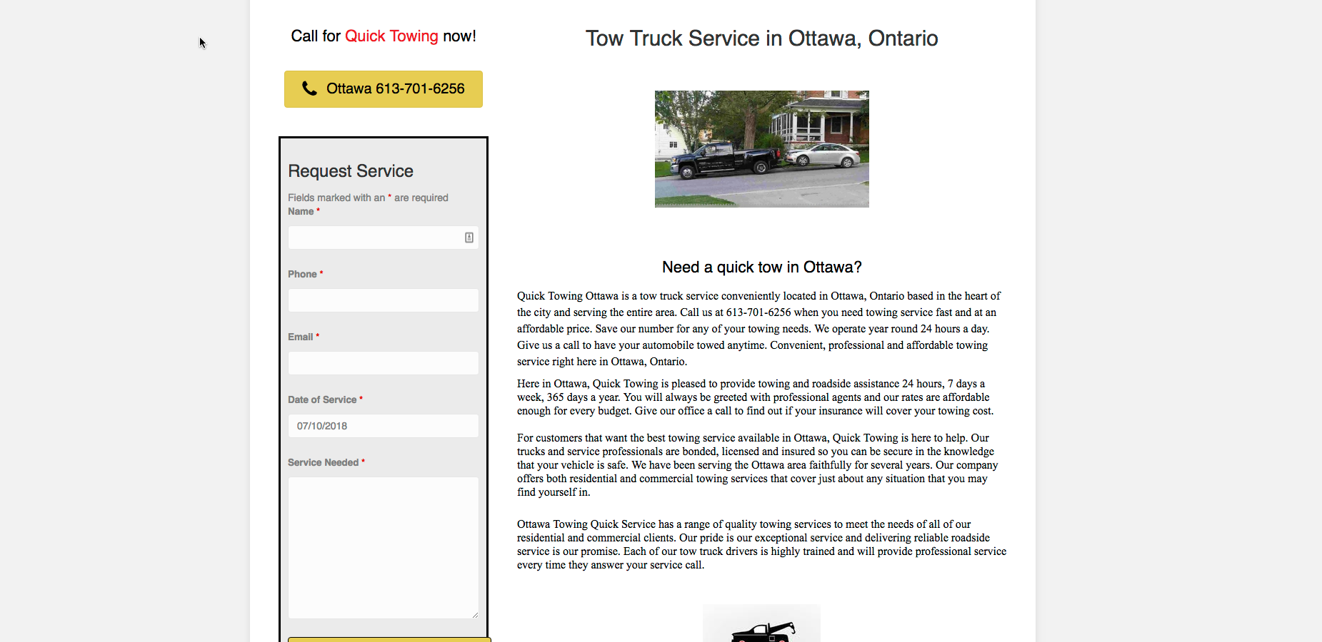 Quick Towing Ottawa website screenshot